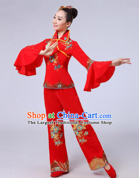 Traditional Chinese Fan Dance Yangko Costumes Folk Dance Group Dance Red Clothing for Women