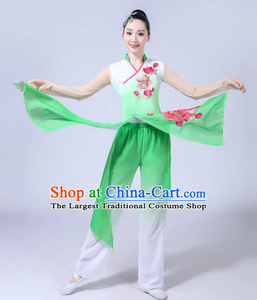 Traditional Chinese Classical Dance Costumes Fan Dance Group Dance Green Dress for Women