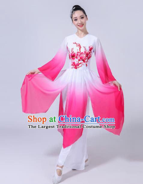 Traditional Chinese Classical Dance Costumes Lotus Dance Group Dance Rosy Dress for Women