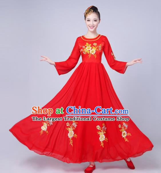 Top Grade Chorus Compere Costume Classical Dance Group Dance Red Dress for Women