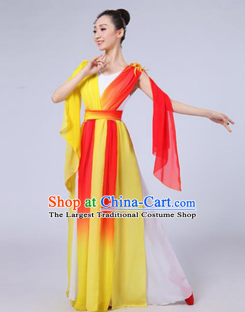 Top Grade Chorus Compere Costume Classical Dance Group Dance Yellow Dress for Women