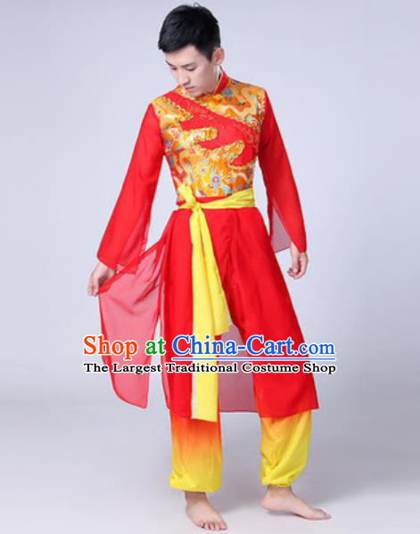Traditional Chinese Fan Dance Costumes Folk Dance Drum Dance Red Clothing for Men
