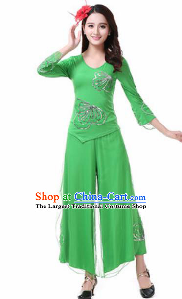 Traditional Chinese Folk Dance Costumes Fan Dance Yanko Dance Green Dress for Women