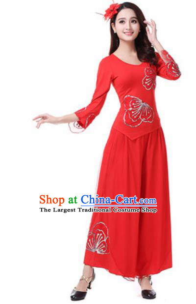 Traditional Chinese Folk Dance Costumes Fan Dance Yanko Dance Red Dress for Women