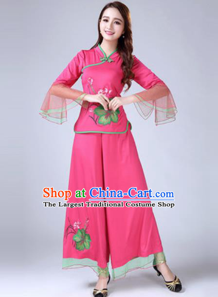 Traditional Chinese Folk Dance Costumes Lotus Dance Yanko Dance Pink Dress for Women