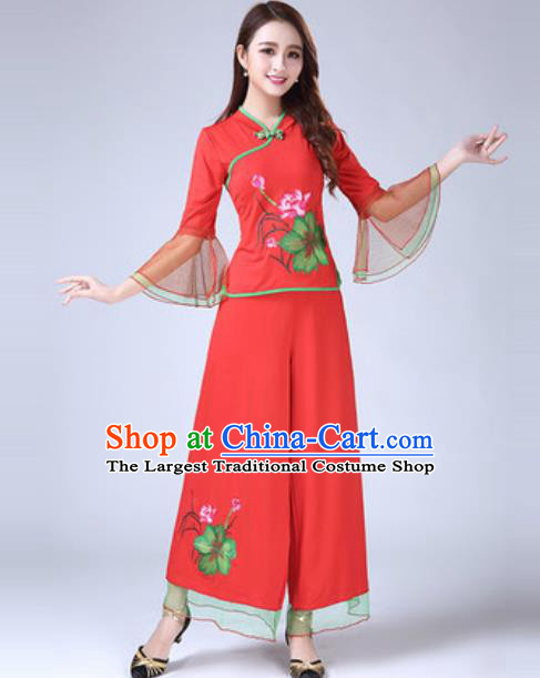 Traditional Chinese Folk Dance Costumes Lotus Dance Yanko Dance Red Dress for Women