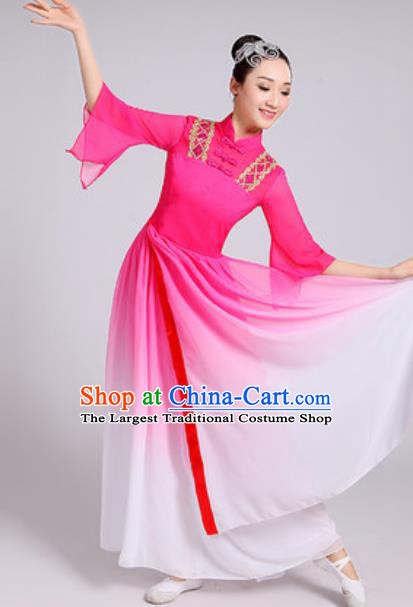 Traditional Chinese Classical Dance Costumes Lotus Dance Umbrella Dance Pink Dress for Women