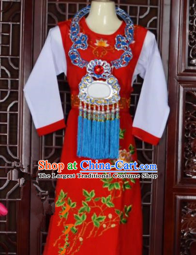Top Grade Chinese Beijing Opera Costumes Peking Opera Niche Red Embroidered Robe for Adults