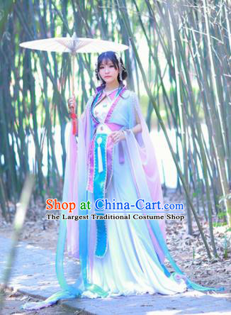 Traditional Chinese Cosplay Princess Costumes Ancient Swordswoman Purple Hanfu Dress for Women