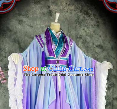Traditional Chinese Cosplay Female Knight Costumes Ancient Swordswoman Purple Hanfu Dress for Women