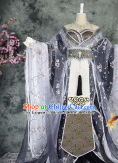 Traditional Chinese Cosplay Female Knight Costumes Ancient Imperial Consort Grey Hanfu Dress for Women