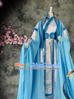 Traditional Chinese Cosplay Royal Highness Blue Costumes Ancient Swordsman Hanfu Clothing for Men