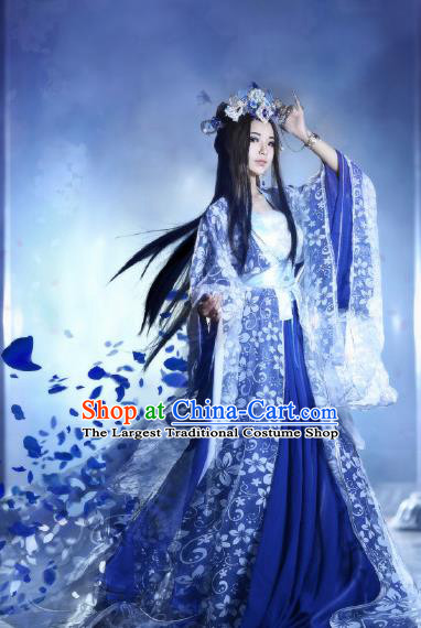 Traditional Chinese Cosplay Swordswoman Blue Costumes Ancient Imperial Consort Hanfu Dress for Women