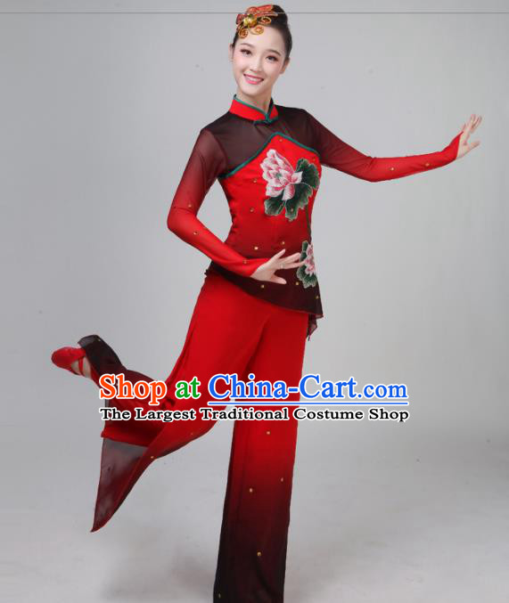 Traditional Chinese Classical Dance Red Costumes Folk Dance Yangko Clothing for Women