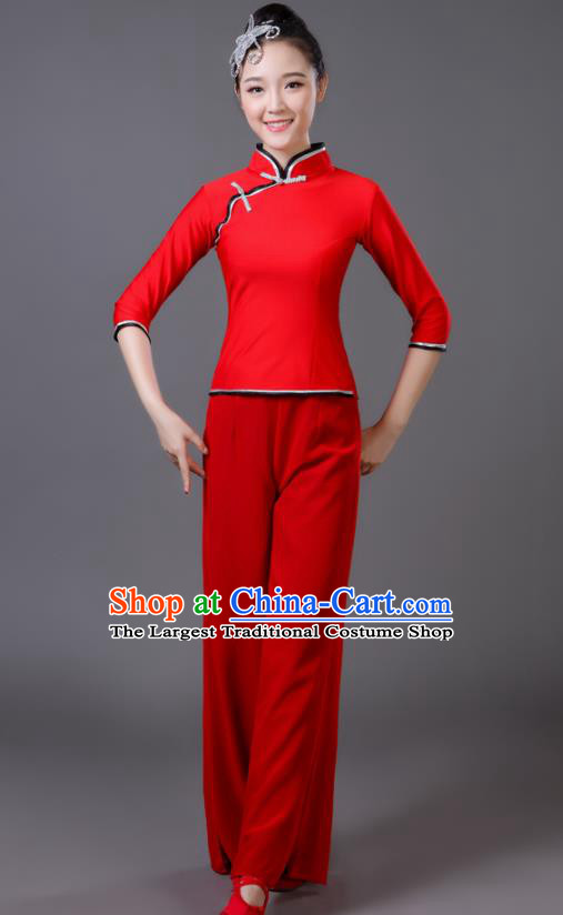 Traditional Chinese Classical Dance Costumes Fan Dance Yangko Red Clothing for Women