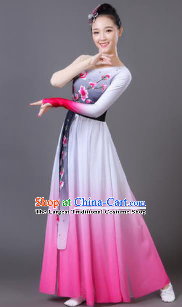 Traditional Chinese Classical Dance Pink Dress Fan Dance Umbrella Dance Clothing for Women