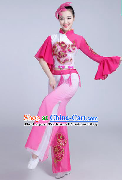 Traditional Chinese Folk Dance Group Dance Dress Yanko Dance Pink Clothing for Women
