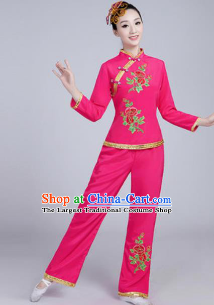 Traditional Chinese Group Dance Folk Dance Pink Costumes Yanko Dance Clothing for Women
