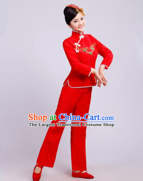 Traditional Chinese Folk Dance Fan Dance Costumes Yanko Dance Group Dance Red Clothing for Women