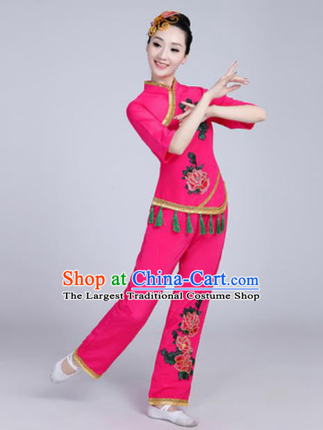 Traditional Chinese Folk Dance Fan Dance Pink Costumes Yanko Dance Clothing for Women