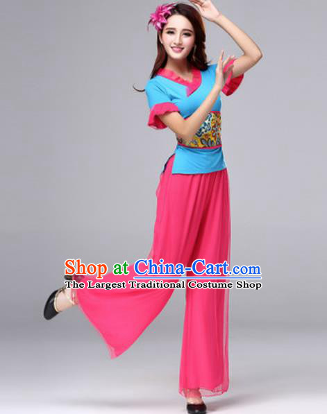 Traditional Chinese Folk Dance Costumes Yanko Dance Fan Dance Clothing for Women