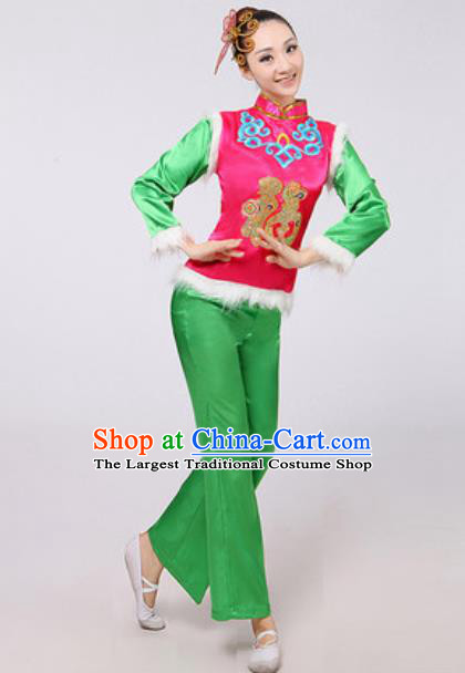 Traditional Chinese Folk Dance Yangko Green Costumes Fan Dance Clothing for Women