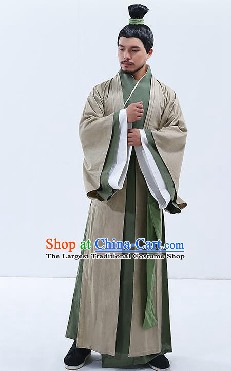 Traditional Chinese Zhou Dynasty Confucian Scholar Costumes Ancient Drama Clothing for Men