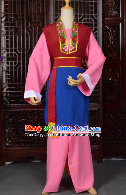 Traditional Chinese Beijing Opera Pantaloon Pink Costumes Ancient Old Women Clothing for Adults