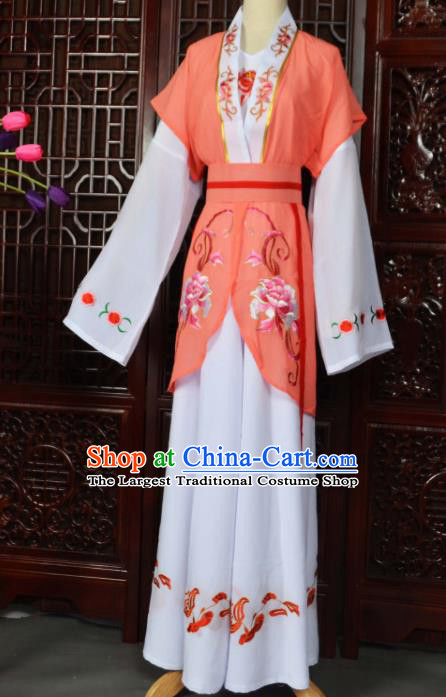 Traditional Chinese Beijing Opera Young Lady Costumes Ancient Maidservants Orange Dress for Adults