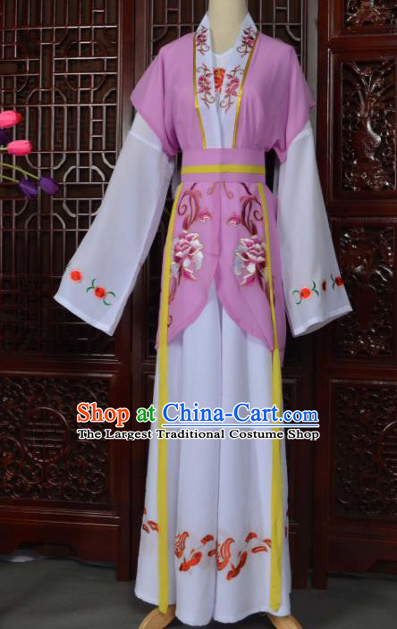 Traditional Chinese Beijing Opera Young Lady Costumes Ancient Maidservants Purple Dress for Adults