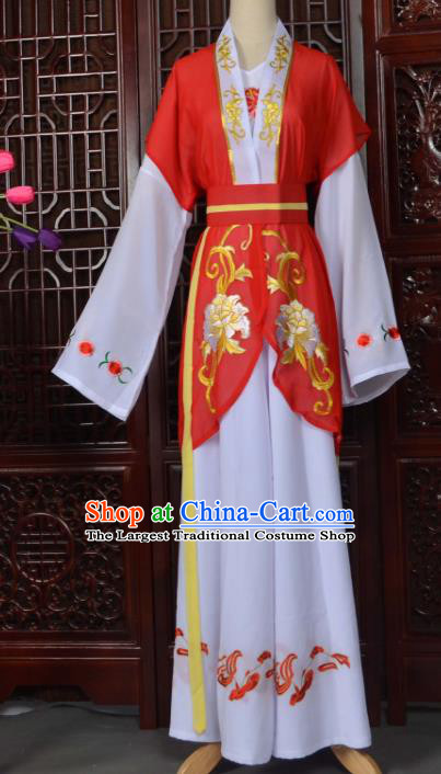 Traditional Chinese Beijing Opera Young Lady Costumes Ancient Maidservants Red Dress for Adults