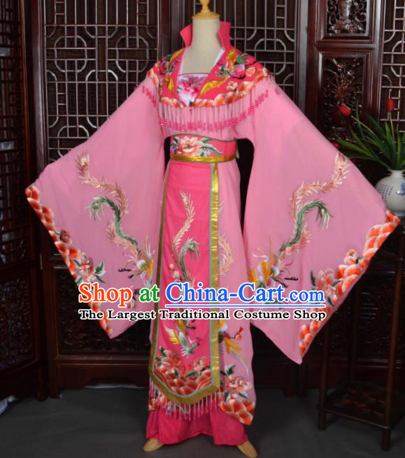 Traditional Chinese Beijing Opera Diva Costumes Ancient Empress Embroidered Pink Dress for Adults