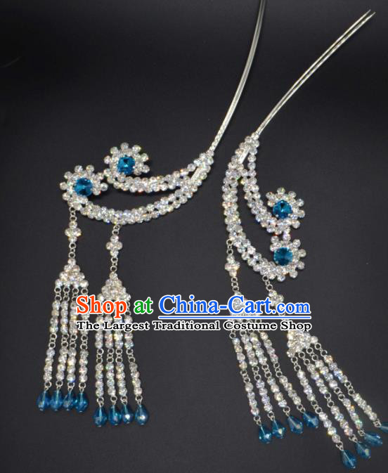 Traditional Chinese Beijing Opera Hair Accessories Ancient Princess Blue Crystal Tassel Hairpins for Women