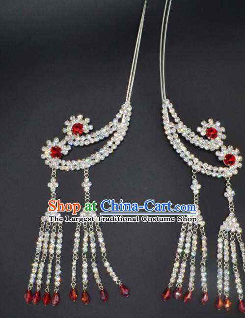 Traditional Chinese Beijing Opera Hair Accessories Ancient Princess Red Crystal Tassel Hairpins for Women