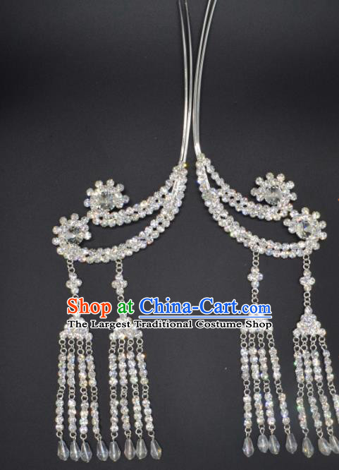 Traditional Chinese Beijing Opera Hair Accessories Ancient Princess Crystal Tassel Hairpins for Women
