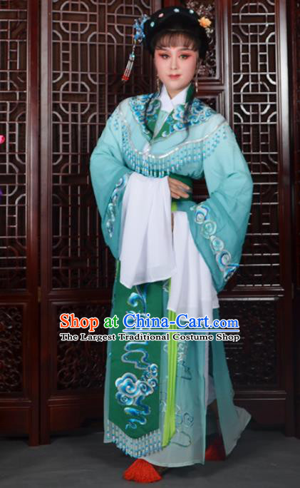 Traditional Chinese Beijing Opera Diva Costumes Ancient Imperial Consort Embroidered Green Dress for Adults