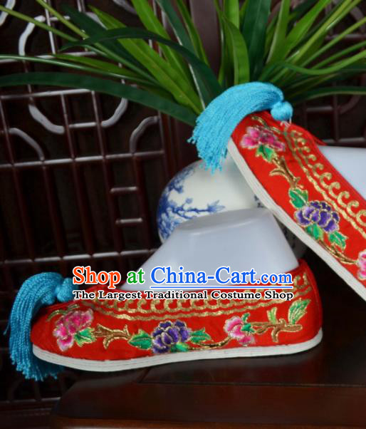 Traditional Chinese Beijing Opera Actress Embroidered Shoes Ancient Princess Red Hanfu Shoes for Women