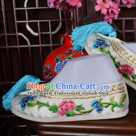Traditional Chinese Beijing Opera Actress Embroidered Shoes Ancient Princess White Hanfu Shoes for Women