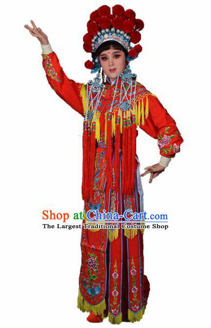 Traditional Chinese Peking Opera Blues Costumes Ancient Female General Red Dress and Hat for Adults