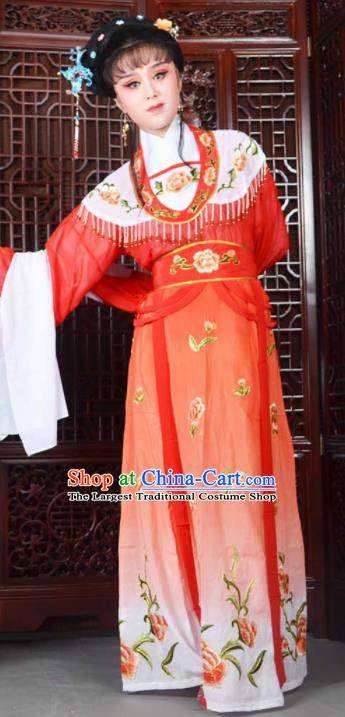 Traditional Chinese Peking Opera Princess Costumes Ancient Peri Red Dress for Adults