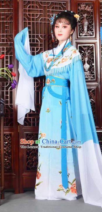 Traditional Chinese Peking Opera Princess Costumes Ancient Peri Blue Dress for Adults
