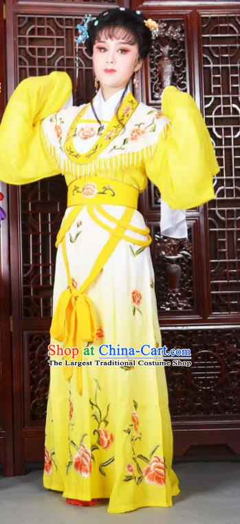 Traditional Chinese Peking Opera Princess Costumes Ancient Peri Yellow Dress for Adults
