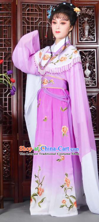 Traditional Chinese Peking Opera Princess Costumes Ancient Peri Purple Dress for Adults