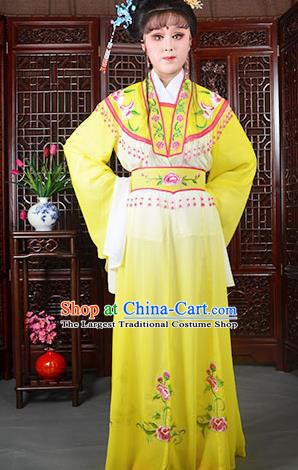 Traditional Chinese Beijing Opera Actress Costumes Ancient Princess Embroidered Yellow Dress for Adults
