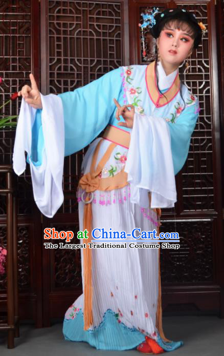 Traditional Chinese Peking Opera Diva Costumes Ancient Peri Blue Dress for Adults