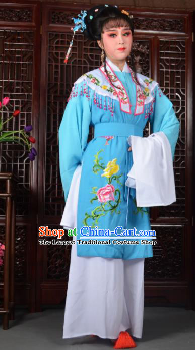 Traditional Chinese Peking Opera Diva Costumes Ancient Princess Blue Dress for Adults
