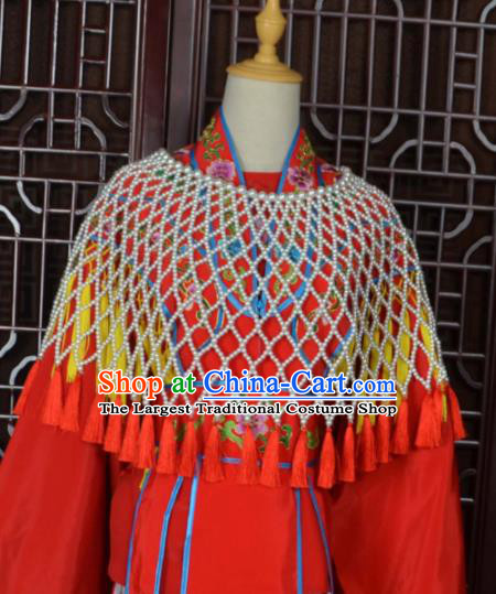 Traditional Chinese Beijing Opera Shoulder Accessories Ancient Princess Red Tassel Cloak for Women