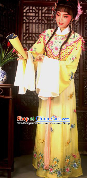 Traditional Chinese Peking Opera Actress Costumes Ancient Peri Princess Yellow Dress for Adults