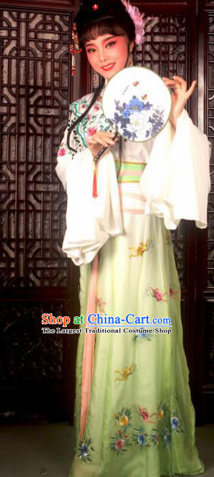 Traditional Chinese Peking Opera Actress Costumes Ancient Peri Princess Light Green Dress for Adults