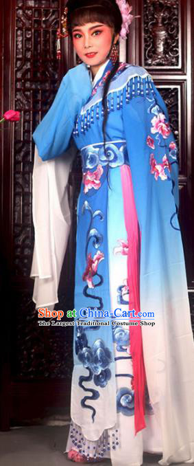 Traditional Chinese Peking Opera Imperial Consort Costumes Ancient Peri Royalblue Dress for Adults
